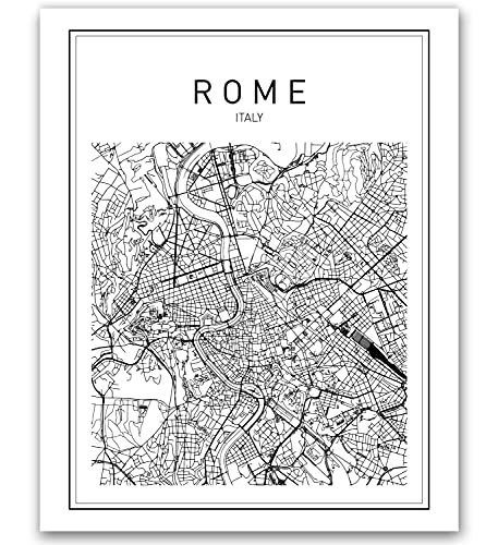 Rome Map, Rome Print, Map of Rome, Italy Map, Italy Wall Art, Map Print, Black Map Print, Minimalist Map, City Map, Modern Map, Wall Print, Map Art, Map Poster, Modern Maps, Black Print, 8x10