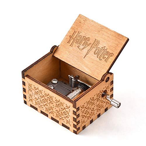 YEUGUI Caja de música de Madera con manivela de manivela Tallada antiguamente, Caja de música Creativa para Boda, San Valentín, Navidad, cumpleaños