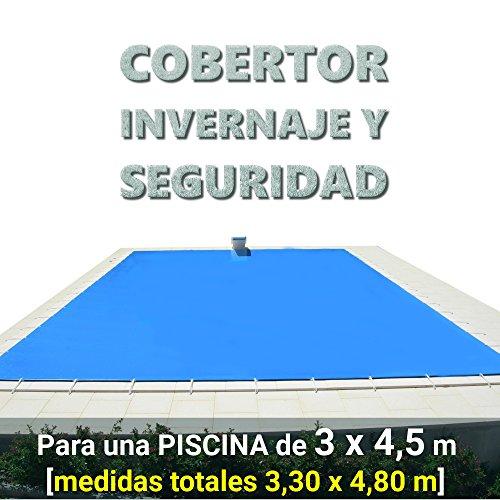 Cobertor, lona, cubierta, toldo,... de invierno para cubrir una piscina de 3,0 x 4,5 m. Medidas totales del cobertor: 3,30 x 4,80 m.