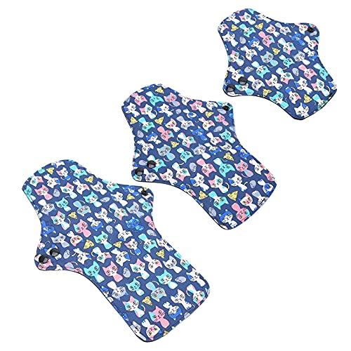 Almohadilla menstrual lavable, almohadilla menstrual de algodón, almohadilla menstrual de algodón lavable con patrón de dibujos animados lindo almohadillas sanitarias reutilizables 5 piezas(L code)