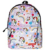 Chiclinco Kids Rainbow Unicorn Backpack Back to School Back Pack for Little Girls Age 5-12 Years Old (Pink)