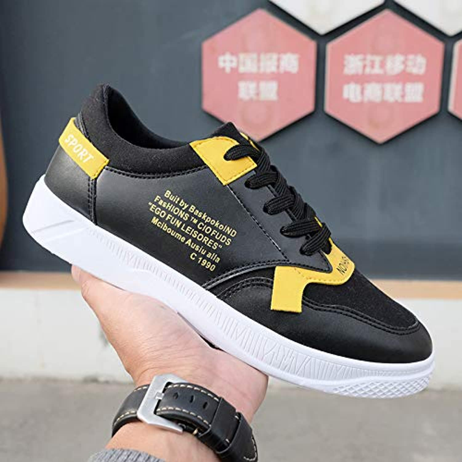 LOVDRAM Men's shoes Spring White shoes, Versatile Wear Student Sports shoes Casual Low To Help Men'S shoes