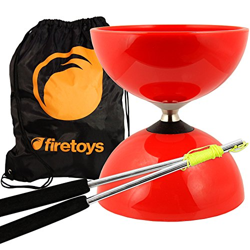 Firetoys Red Big Top - Jumbo Bearing Diabolos Set, Ali Dream Metal Diablo Sticks, Diabolo String & Bag! by Juggle Dream