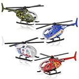 ArtCreativity Die Cast Helicopters - Pack of 4 - Police, Fire Engine, EMS, and Military Die Cast Toy Choppers with Spinning Propellers, Birthday Party Favors for Boys and Girls