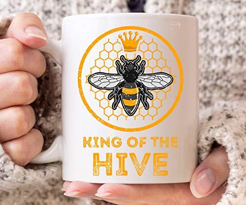 Taza de café de King of The Hive para amantes de la miel y la abeja, ideal para regalo de apicultura para hombres y mujeres, 325 ml