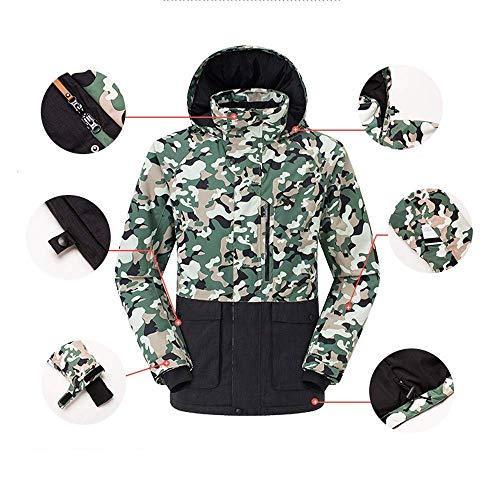 WAY Skijacke, Camouflage-Grün, Fleecejacke, Winter, wasserdicht, warm, winddicht, für Herren, Tarnmuster, Grün