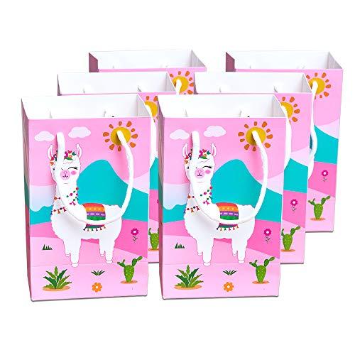 WERNNSAI Bolsas de Regalo de Fiesta - Llama Cactus Alpaca Suministros para la Fiesta Papel Favorece Las Bolsas de Trato con Asas Fiesta de cumpleaños Boda Baby Shower, 16 Piezas