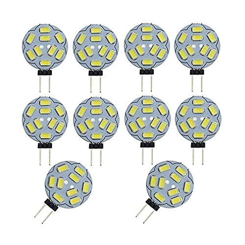 Gmasuber G4 - Bombilla LED G4 con base de dos pines, 9 bombillas LED, 2 W, 12 V, equivalente a 10 W, para iluminación de techo empotrable, no regulable, blanco frío 6000 K, 9 LED 5730 SMD, 10 unidades