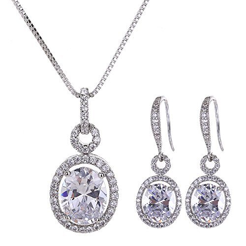 Bridal Jewelry Set for Women - Sterling Silver Cubic Zirconia Crystal Oval Halo Necklace and Dangle Earrings Set Fashion Jewelry Set by AMYJANE …