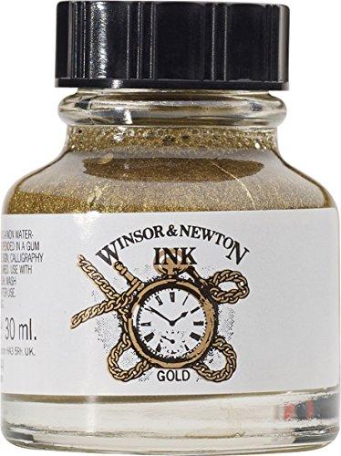 Winsor & Newton 1010283 Drawing Inks - Zeichentusche (für Kalligraphen, Illustratoren, Grafikern und Künstler - wasserbeständige Tinte mit herrvorragender Transparenz) 30 ml Flasche gold