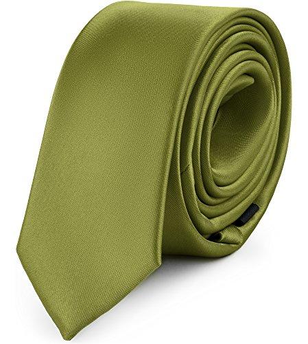 Ladeheid Herren Schmale Krawatte SP-5 (150cm x 5cm, Olive)