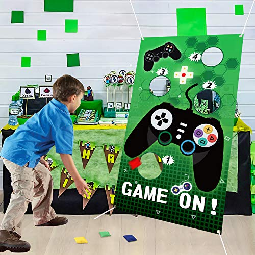 PANTIDE Video Game Toss Games with 4 Bean Bags, Game On Birthday Party Games Party Supplies, Gaming Party Decorations Indoor Outdoor for Boys, Video Game Themed Throwing Games for Kids and Adults