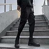 Streetwear Pantalones de Jogging para Hombre Primavera Otoño Moda Casual Harajuku Jogger Ropa Masculina Estilo Coreano Pantalones de Tubo de Hip Hop-Negro_S