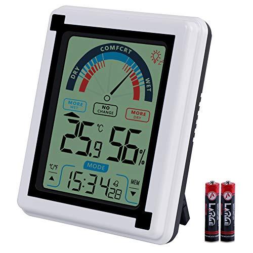ONEAMG digitales Thermo-Hygrometer Thermometer Innen Raumthermometer Temperatur und Luftfeuchtigkeitmessgerät mit Hintergrundbeleuchtung, Großer LCD-Display und Wecker,Komfortanzeige,°C/°F-Schalter