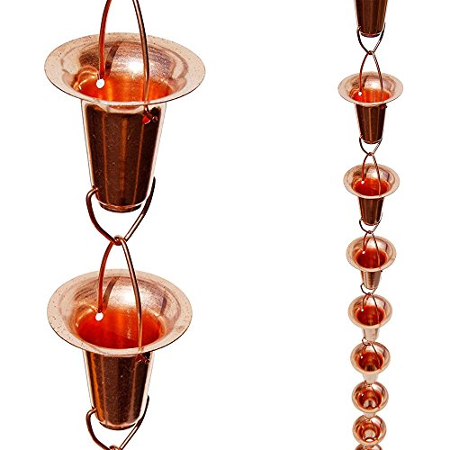 Stanwood Rain Chain Bell/Cup Shaped Copper Rain Chain, 8-Feet