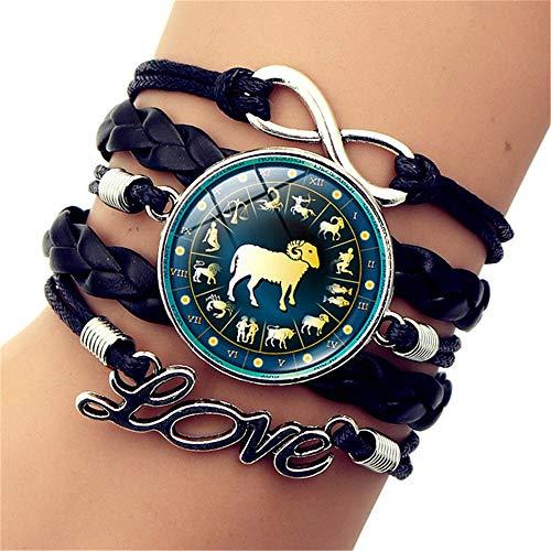 SLVVL Twaalf sterrenbeelden Ram tijd edelsteen armband LOVE letters multi-layer geweven armband sieraden
