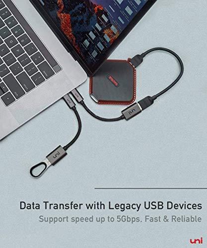 uni USB C Adapter auf USB, uni USB Typ C [Thunderbolt 3] auf USB 3.0 Adapter OTG Kabel Kompatibel für MacBook Pro 2019/2018, MacBook, iPad Pro 2018/2020- Space Grau- 2 Stücke