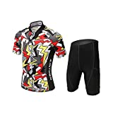 LSERVER Combinaison de Maillot Cyclisme Velo Pantalons Pour Enfant, Couleur, S (Convient à 5-6 ans)