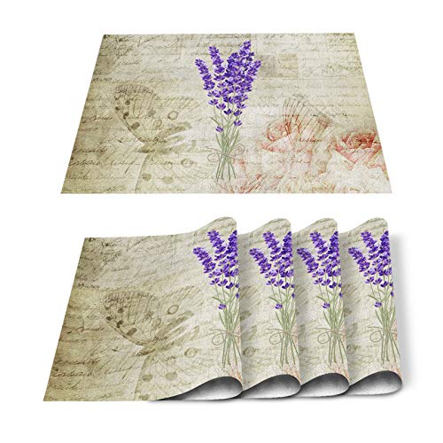 FAMILYDECOR Pack of 4 Placemats for Wedding Lavender Flowers Vintage Background - Stain Proof Place Mats for Dining Tabletop Protect, Non Slip Table Mats - Cotton Linen