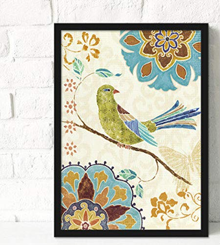 Guangzhouf Pinturas Decorativas Sofás de salón Dibujos Colgantes Modernos Paredes de Noche Flores y pájaros Pintados 50x70cmNoFrame A