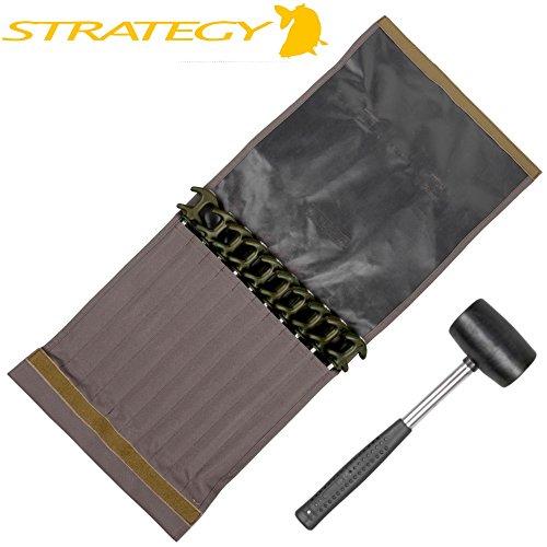 Strategy Outback Easy Grab Peg Set XL - 10 Bivvy Heringe für Angelzelt, Brolly & Angelschirm, Zeltheringe, Erdspieße für Zelt