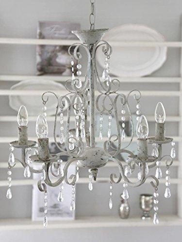 Lampadario Shabby Chic 5bracci BIANCO ANTICO METALLO lampadario soffitto lampadario lampada a sospensione Vintage