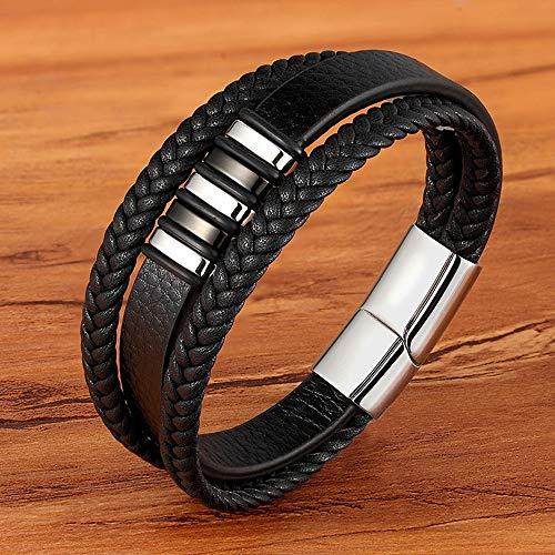 YITIANTIAN Diseñador de Cuerda de Acero Inoxidable Tejida magnética Pulsera Negra de Cuero Genuino para Hombres Accesorios de joyería Trenzada Cruzada