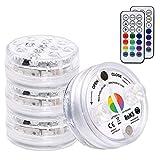 OSALADI - Luces LED sumergibles con mando a distancia de HF; con ventosas, resistente al agua, IP66, 13 velocidades, 16 colores, para jarrón con acuario de piscina