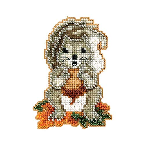 Squirrelly Beaded Counted Cross Stitch Ornament Kit Mill Hill 2012 Autumn Harvest MH18-2206 by Mill Hill