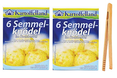 Kartoffelland 6 German Bread Dumplings Mix In Cooking Bags, 7 ounce (Pack of 2) with Bamboo Tong