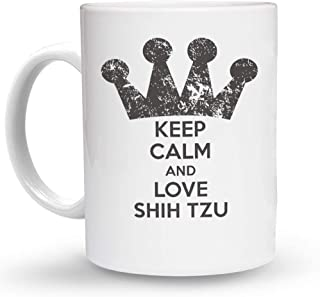 Makoroni - KEEP CALM AND LOVE SHIH TZU Dog - 11 Oz. Unique COFFEE MUG, Coffee Cup