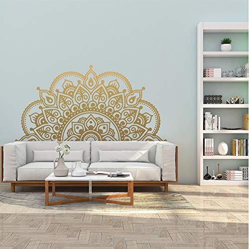 Half Mandala Wall Decal Home Living Room Pegatinas Creative Half Mandala Wallpaper Yoga Studio Meditación Decoración A3 57x28cm