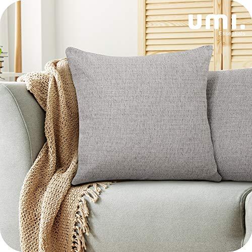 UMI by Amazon Confezione da 2 Fodere per Cuscino Decorativo Quadrato Copricuscino con Chiusura Lampo per Divano Letto 40x40cm Grigio Chiaro