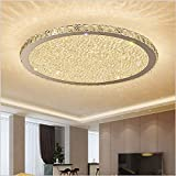 Ladiqi Crystal Round LED Flush Mount Ceiling Light Luxury Modern Close to Ceiling Light Indoor Chandelier Lighting Fixture for Living Room Bedroom Dining Room Restaurant (Warm, 19.5'')