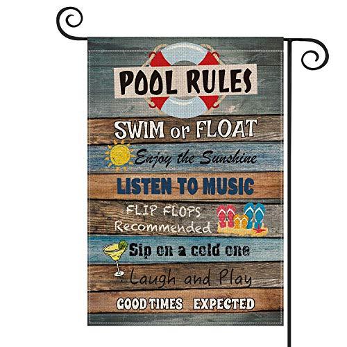 Pool Rules - Bandera vertical de madera para jardín, tamaño doble, para nadar o flotar, disfruta del sol, patio, decoración al aire libre, 30 x 45 cm