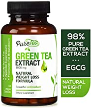 Green Tea Extract 98% 1000mg with EGCG (Non-GMO & Gluten Free) Max Potency for Weight Loss & Metabolism Boost, Antioxidants for Immune System, Gentle Caffeine, Natural Fat Burner Pills - 60 Capsules