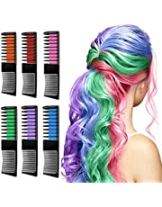 Hair Chalk, Beyond Hair Chalk Comb Temporary Hair Color, Washable Hair Dye Hair Color Brush Makeup Set Best Gift for Women, Kids for Party and Cosplay (6 Colors)