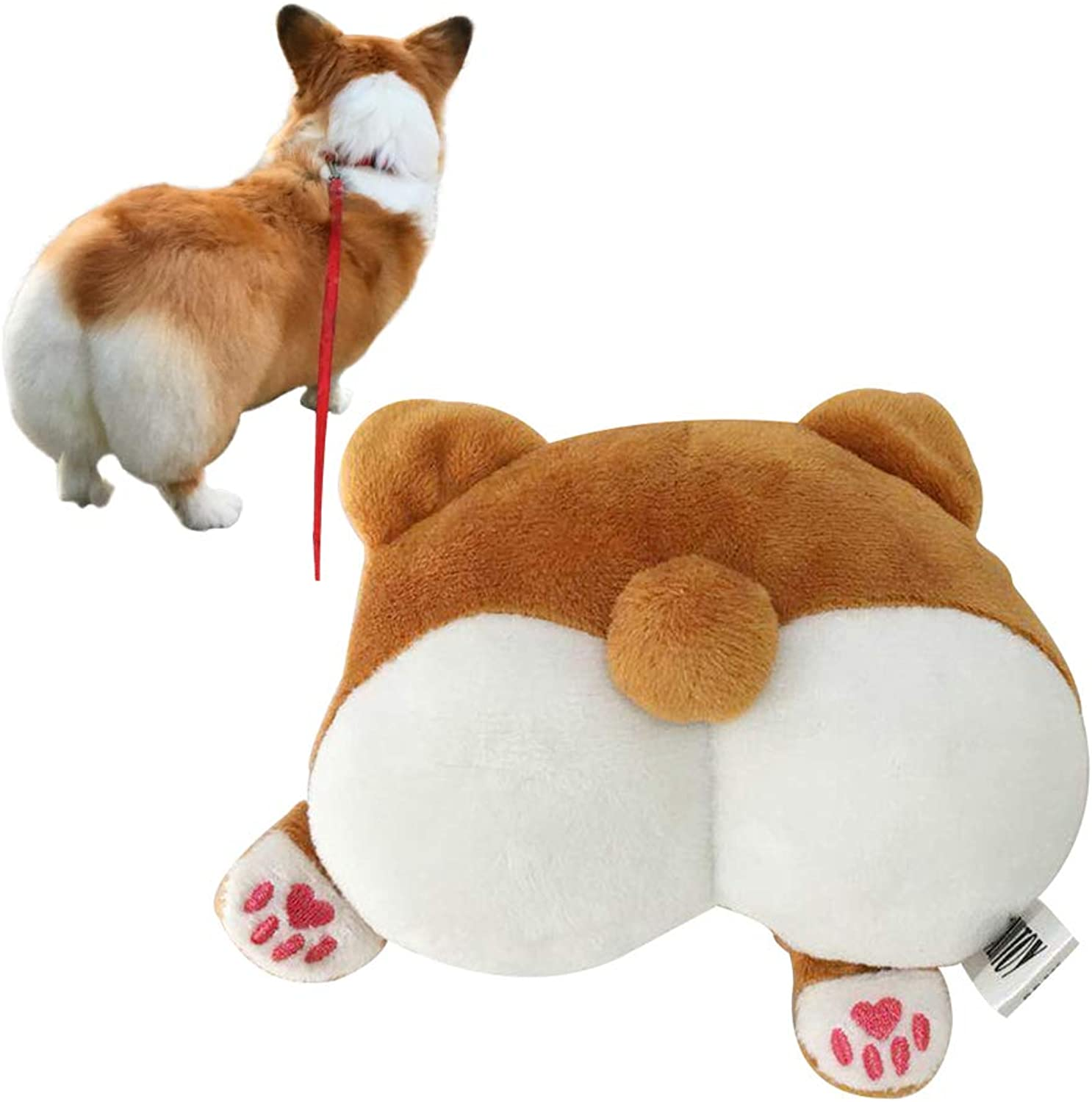 ROZKITCH Pet Dog Toys Corgi Cute Butt Shaped Plush Toy Squeaky Dog Toy, Stuffed Plush Puppy Dog Chew Toy for Small Medium Dogs