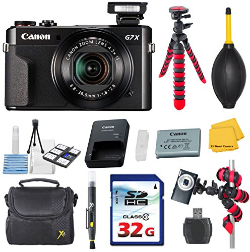 Canon PowerShot G7 X Mark II (Black) Video Camera Bundle with Commander 32GB High Speed Memory Card + Card Reader + Deluxe Case + Commander Starter Kit