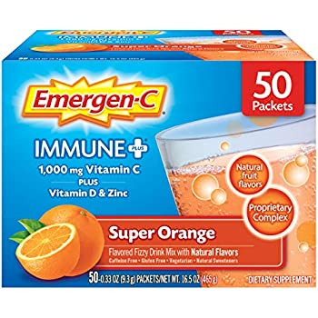 Emergen-C Immune+ 1000mg Vitamin C Powder with Vitamin D Zinc Antioxidants and Electrolytes for Immunity Immune Support Dietary Supplement Super Orange Flavor - 50 Count