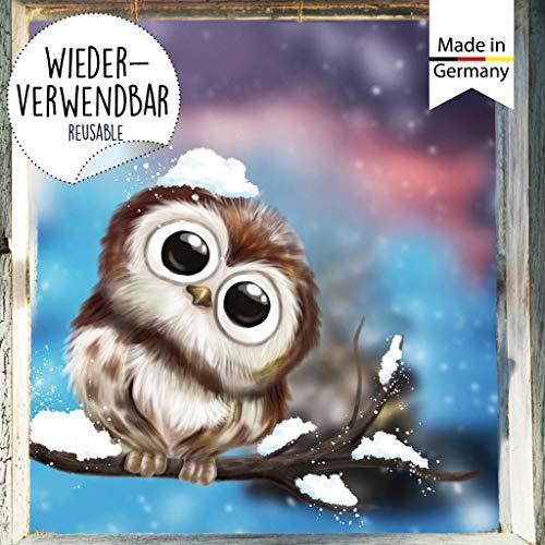 Wandtattoo Loft Fensterbild Weihnachten Vogel Kind Eule Wiederverwendbare Fensteraufkleber Fensterdeko Kinder A4