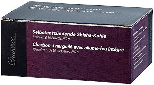 Duvence Räucherkohle: Selbstentzündende Shisha-Kohle, 72 Briketts, 1.100 g (Shishakohle)