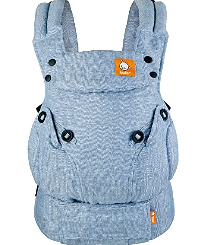 Baby Tula Explore Baby Carrier 7- 45 LB, Adjustable Newborn to Toddler Carrier, Multiple Ergonomic Positions, Front and Back Carry, Easy to Use, Lightweight - Linen Rain (Soft Blue & Herringbone)