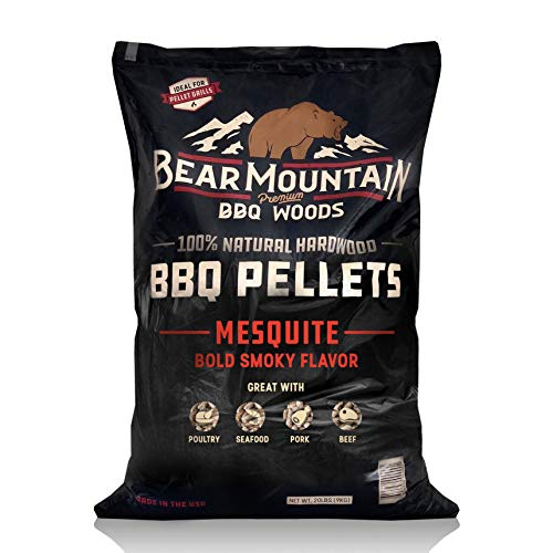 Bear Mountain BBQ 100% All-Natural Hardwood Pellets – Mesquite (20 lb. Bag) Perfect for Pellet Smokers, or Any Outdoor Grill | Rich, Smoky Wood-Fired Flavor