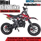 SYX MOTO Kids Mini Dirt Bike Gas Power 2-Stroke 50cc Motorcycle Holeshot Electric Start Motorcycle Pit Bike, Red