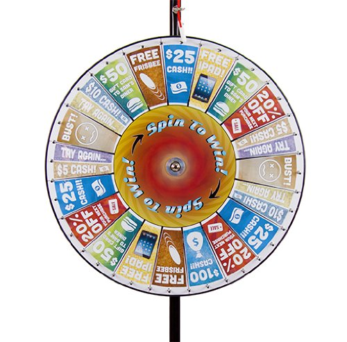 Lowest Price! Brybelly Deluxe 36 Custom Pocket Insert Prize Wheel with Extendable Base