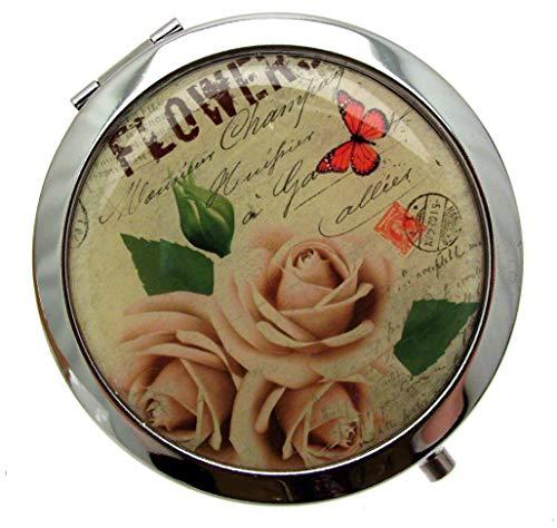 Miroir de poche Compact Miroir de Sac Floral Miroir de maquillage Miroir de poche