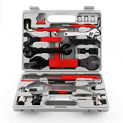 LHK Fahrradreparatur-Werkzeugsatz mit Koffer 44St, Drehmomentschlüssel-Wartungsset mit Box Best Value Professionelle Heimfahrradwerkzeuge mit Premium-Qualität