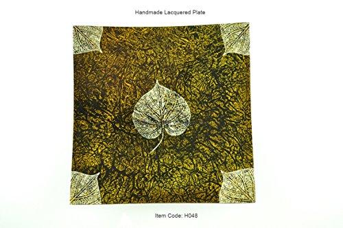 faite à la main en bois laqué, Merveille, forme carrée de plaque décorative et assiette de service, petite taille, Jaune, H048s