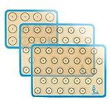 SUPER KITCHEN Backmatte aus Silikon für Macaron Keks - 3-Stück Set (Blau), Antihafte Matte für Makronen/Kuchen/Brot, 42x29,5 cm, 29, 2cm×21,6 cm
